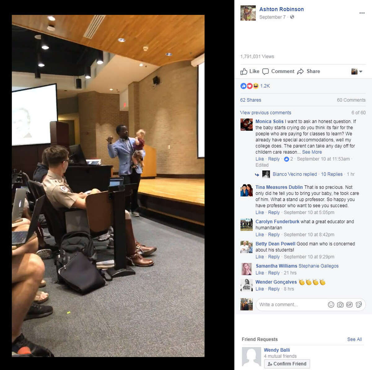 Ashton Robinson's sitter fell through for her sone Emmett and she told her Texas A&M professor, Dr. Henry Musoma, that she would have to skip class. He surprised her when he said to bring her son along and he even carried Emmett while lecturing.Source:Facebook