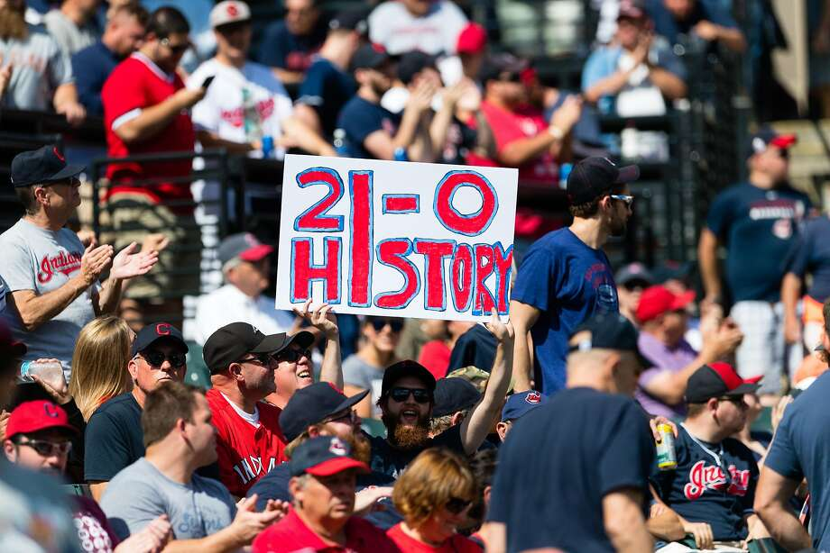 CLEVELAND, OH - SEPTEMBER 13:  A Cleveland Indians fan shows his support for the team prior to the game against the Detroit Tigers at Progressive Field on September 13, 2017 in Cleveland, Ohio. The Indians tied the American League record for wins in  a row with 20 in a 2-0 victory over the Detroit Tigers last night.  (Photo by Jason Miller/Getty Images) Photo: Jason Miller, Getty Images