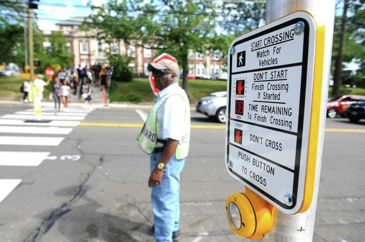 New traffic lights were recently installed in front of Stamford High School to allow students to cross Strawberry Hill Avenue more safely. Photographed in Stamford, Conn. on Wednesday, Sept. 13, 2017.