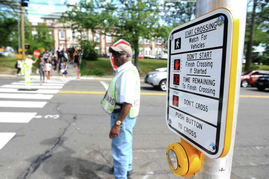 New traffic lights were recently installed in front of Stamford High School to allow students to cross Strawberry Hill Avenue more safely. Photographed in Stamford, Conn. on Wednesday, Sept. 13, 2017. Photo: Michael Cummo / Hearst Connecticut Media / Stamford Advocate