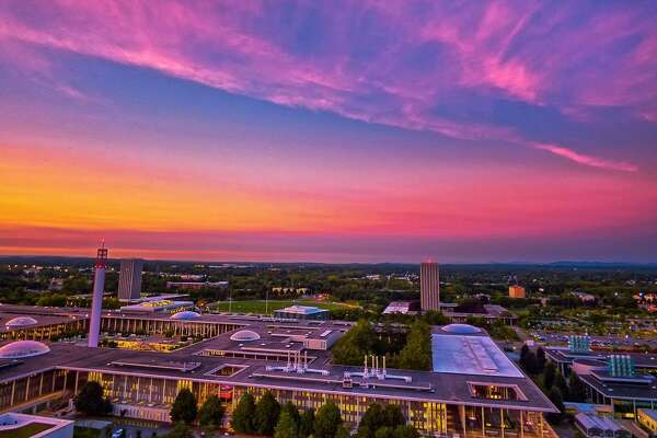 "University at Albany:  ""#sunset tonight from the top of Indian tower for our #AMS kickoff event #sky #landscape #view #weather #lumix #hdr #ualbany"" — @mikethemainman"