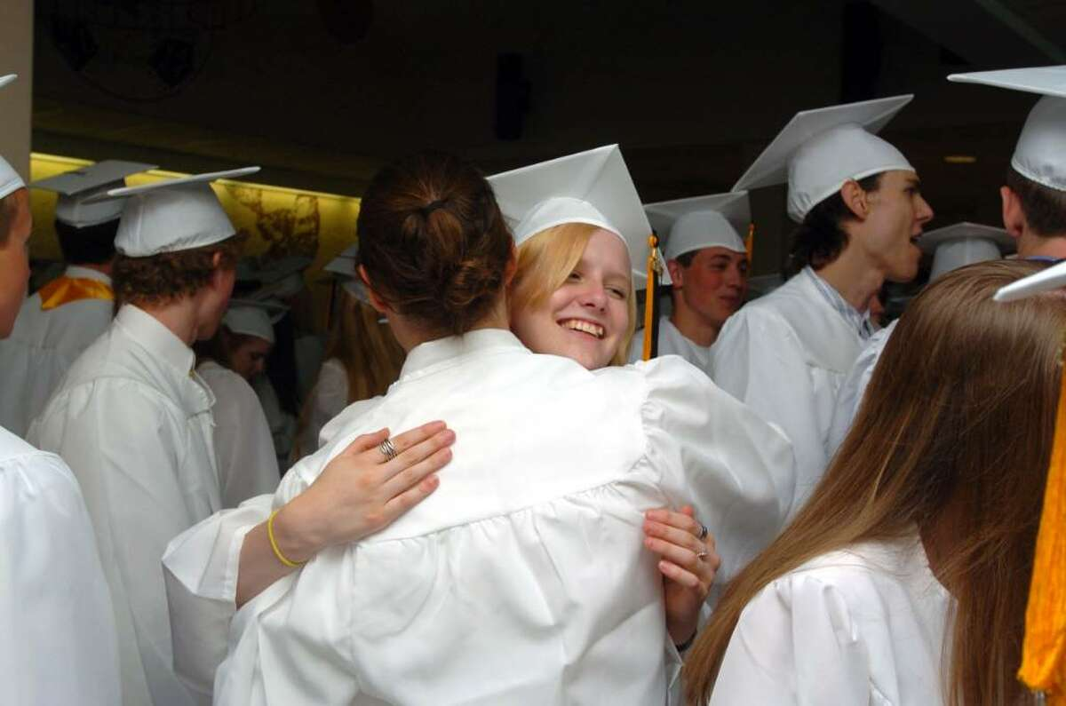 Students and family attend the Joel Barlow High School graduation at the O'Neill Center on Western Connecticut State University's campus in Danbury, June 22, 2010.