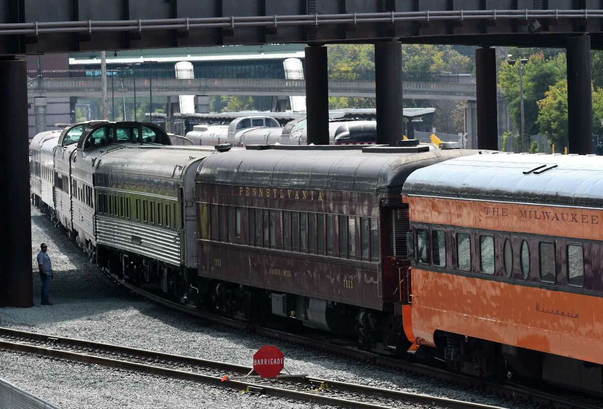 Vintage private railcars are mustered at Albany-Rensselaer Train Station before a trip to Burlington, Vt. for a railcar owner's convention on Wednesday, Sept. 13, 2017, in Rensselaer, N.Y. Eighteen cars will travel to the American Association of Private Railroad Car Convention. (Will Waldron/Times Union)