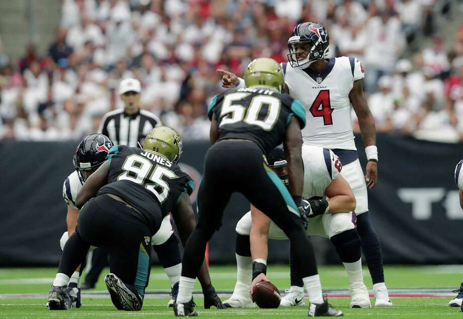 HOUSTON, TX - SEPTEMBER 10:  Deshaun Watson #4 of the Houston Texans signals at the line of scrimmage in the third quarter against the Jacksonville Jaguars at NRG Stadium on September 10, 2017 in Houston, Texas.  (Photo by Tim Warner/Getty Images) Photo: Tim Warner, Stringer / 2017 Getty Images
