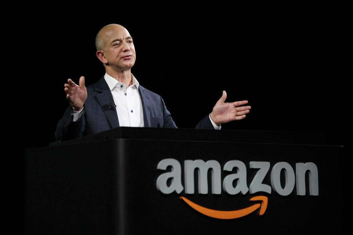 FILE - JULY 27, 2017: It has been reported that Amazon CEO Jeff Bezos has surpassed Microsoft founder Bill Gates as the world's richest person with a net worth of $90.6 billion. SANTA MONICA, CA - SEPTEMBER 6: Amazon CEO Jeff Bezos unveils new Kindle reading devices at a press conference on September 6, 2012 in Santa Monica, California. Amazon unveiled the Kindle Paperwhite and the Kindle Fire HD in 7 and 8.9-inch sizes. (Photo by David McNew/Getty Images)