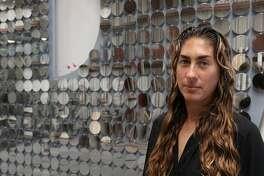 "Artist Ana Teresa Fernandez with the letter D from ""DREAM"""