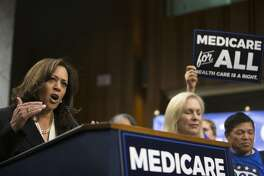 """Sen. Kamala Harris (D-Calif.) speaks at a news conference regarding health care policy, on Capitol Hill in Washington, Sept. 13, 2017. On the same day that Republican lawmakers were pitching a last-gasp effort to undo the Affordable Care Act, Sen. Bernie Sanders said that 15 Democratic senators have signed on to what he called a """"a Medicare-for-all, single-payer health care system."""" (Tom Brenner/The New York Times)"""