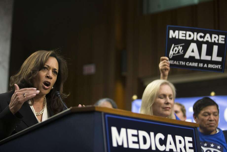 Sen. Kamala Harris (D-Calif.) speaks at a news conference regarding health care policy, on Capitol Hill in Washington, Sept. 13, 2017. On the same day that Republican lawmakers were pitching a last-gasp effort to undo the Affordable Care Act, Sen. Bernie Sanders said that 15 Democratic senators have signed on to what he called a �a Medicare-for-all, single-payer health care system.� (Tom Brenner/The New York Times) Photo: TOM BRENNER, NYT