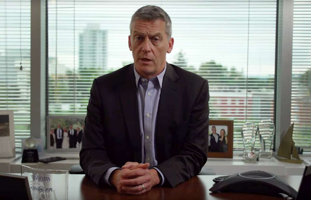 John Driscoll, the Stamford millionaire CEO of CareCentrix, appears in a commercial released Wednesday by the Service Employees International Union 1199 New England calling for higher taxes on the state's wealthiest residents.