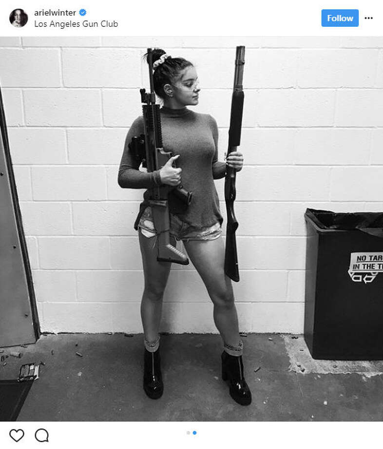"""Modern Family"" actress Ariel Winter, 19, shares a gun-touting photo of herself after getting her firearms license. She says she's ""prepping for the zombie apocalypse.""Source: Instagram Photo: Instagram"