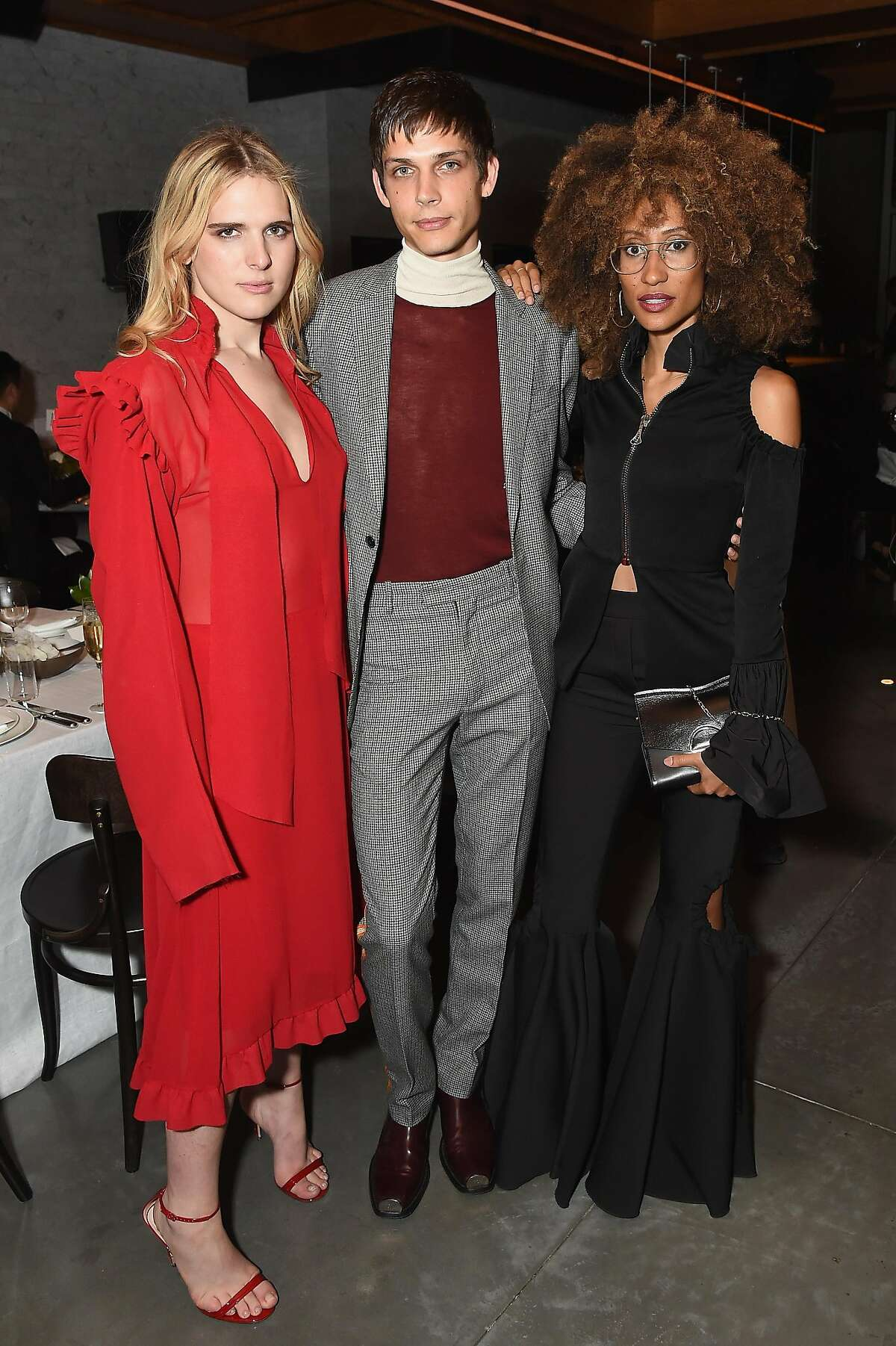 NEW YORK, NY - SEPTEMBER 09: Hari Nef (L) and Elaine Welteroth (R) attend the #BoF500 party during New York Fashion Week Spring/Summer 2018 at Public Hotel on September 9, 2017 in New York City. (Photo by Nicholas Hunt/Getty Images for The Business of Fashion)