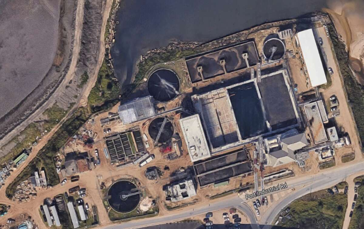 Google Map shows the location of the Galveston wastewater treatment plant.