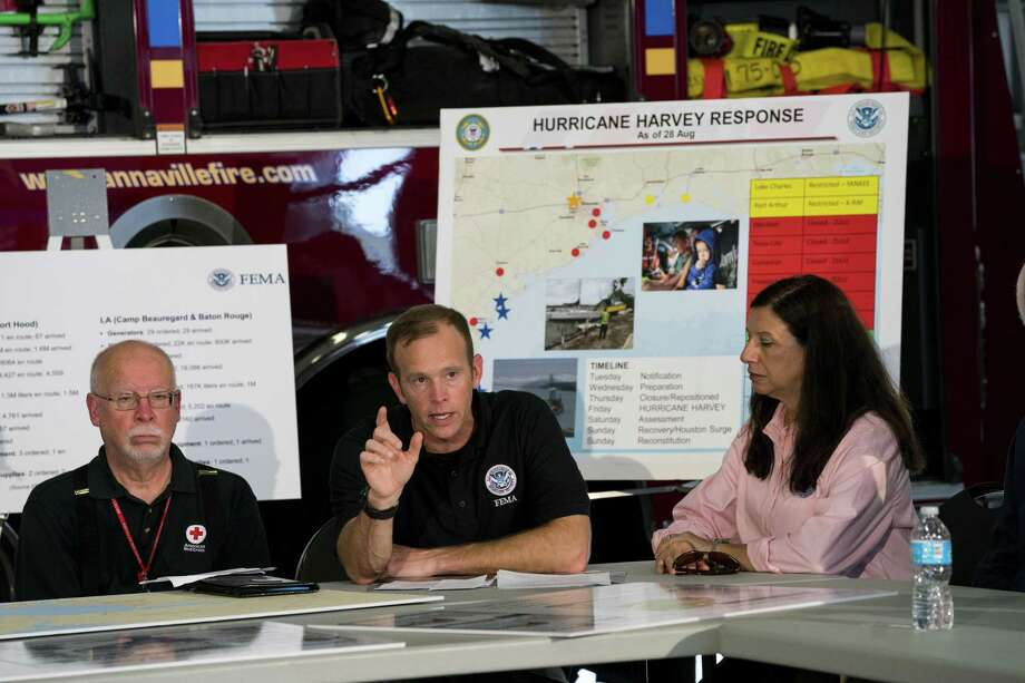Brock Long, the head of the Federal Emergency Management Agency, speaks during a briefing on relief efforts following Hurricane Harvey, at a fire station in Corpus Christi Aug. 29. Natural disasters — and climate change magnifying them — demonstrate why we need the federal government. Photo: DOUG MILLS /NYT / NYTNS
