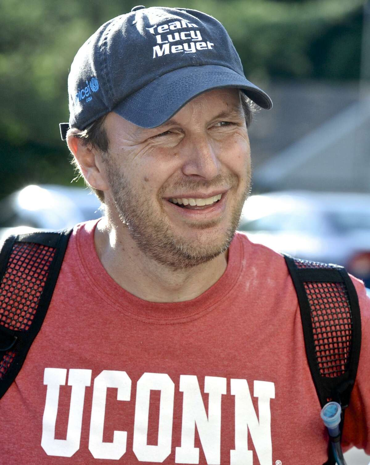 Senator Chris Murphy in Newtown during his walk across Connecticut in August.