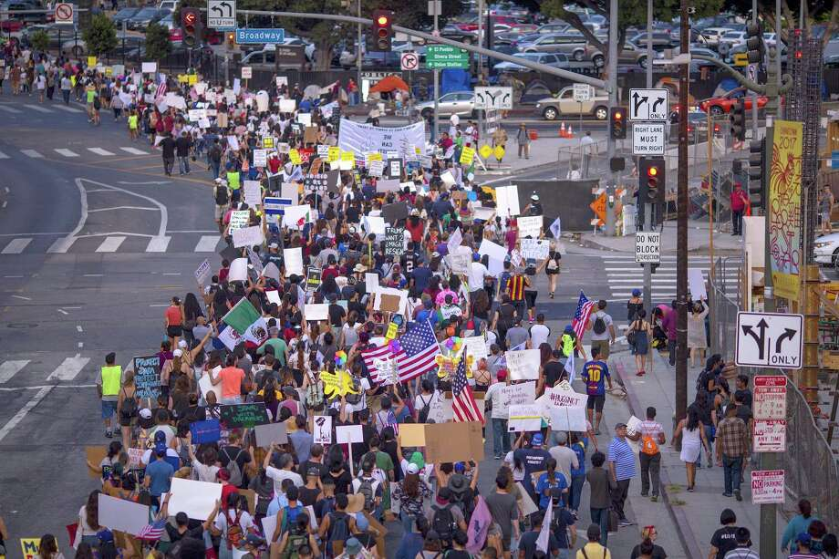 Thousands of immigrants and supporters join the Defend DACA March to oppose the President Trump order to end DACA on September 10, 2017 in Los Angeles. Intense criticism of his order to end DACA, prompted to president to say he will act if Congress does not — an unforced strategic error that shows he is bluffing. Photo: David McNew /Getty Images / 2017 Getty Images