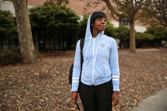 Symone Brown Johnson at Laney College on Wednesday, Sept. 13, 2017, in Oakland, Calif. The Oakland Athletics baseball team have settled on land near Laney College as their preferred spot for a 35,000-seat, privately financed ballpark to replace the Coliseum, team officials said Tuesday.