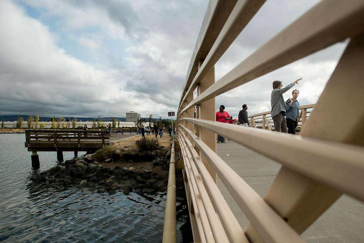 Resilient by Design Bay Area Challenge participants tour Martin Luther King Jr. Shoreline in Oakland, Calif., on Wednesday, Sept. 13, 2017.
