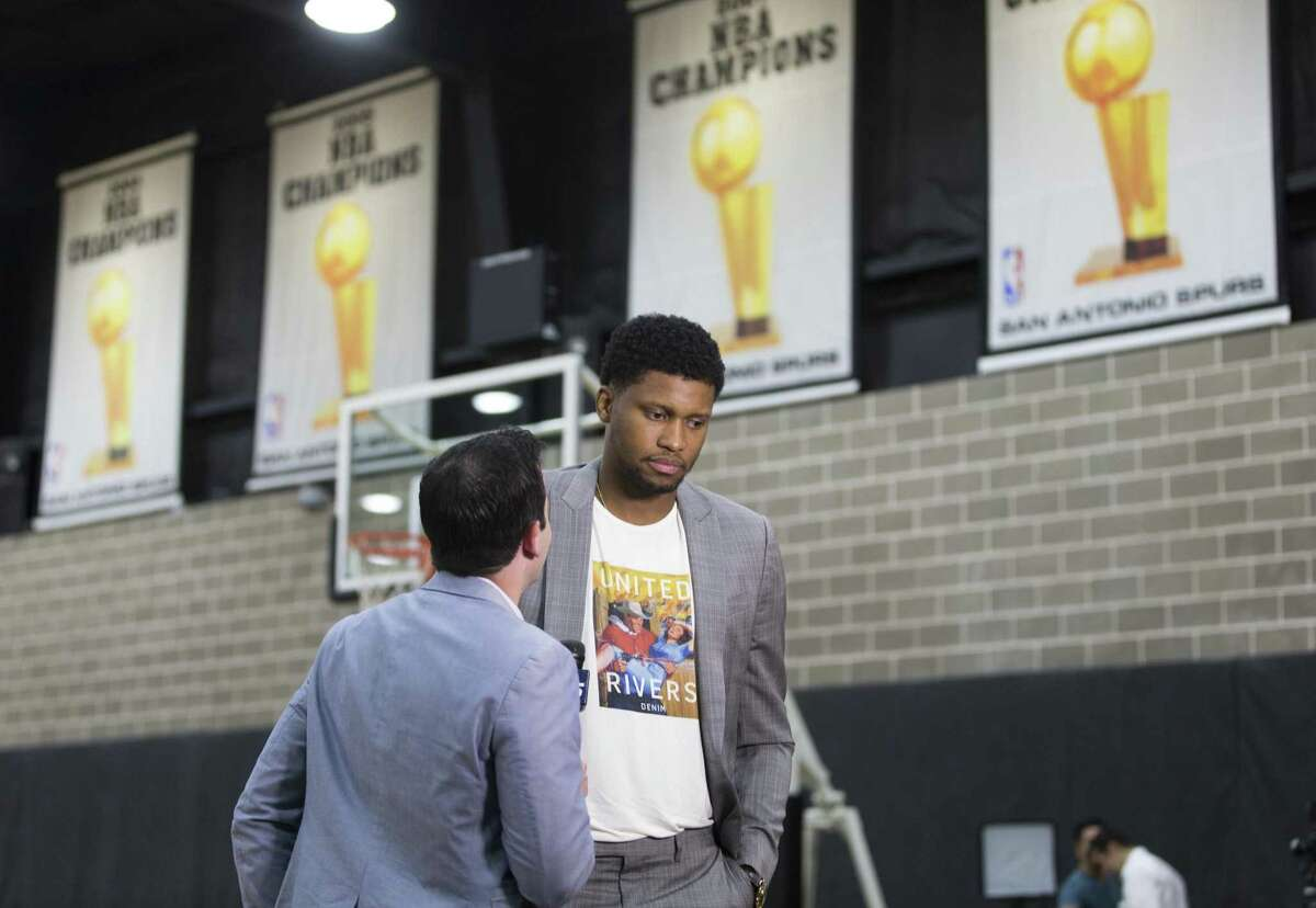 New Spurs player Rudy Gay speaks to the media at the team's practice facility on Sept. 13.