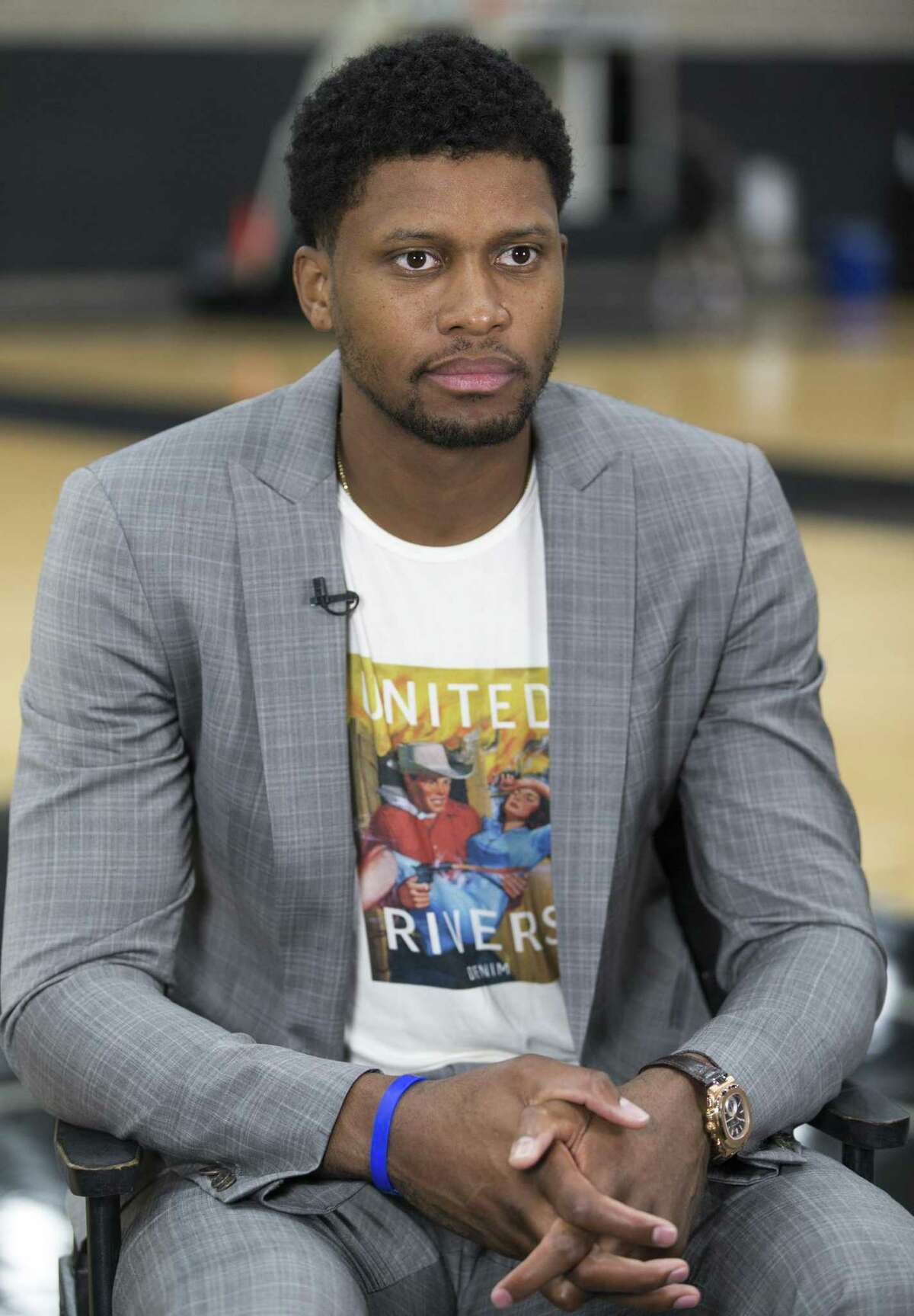 News Spurs player Rudy Gay speaks Wednesday, Sept. 13, 2017 to the media at the Spurs' practice facility.