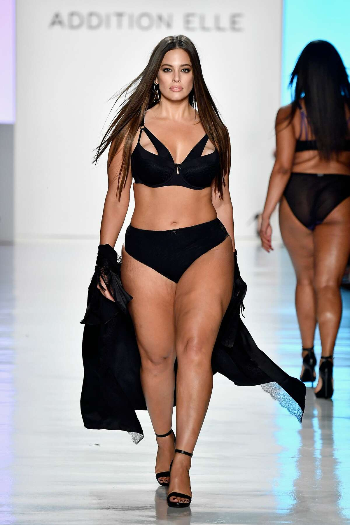 Model Ashley Graham walks the runway for ADDITION ELLE NYFW September 2017 Runway Presentation on September 11, 2017. One more look...