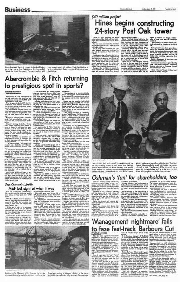 Houston Chronicle inside page - June 29, 1980 - section 3, page 24. Abercrombie & Fitch returning to prestigious spot in sports? Oshman's 'fun' for share holders, too. A&F lost sight of what it was. Photo: HC Staff / Houston Chronicle