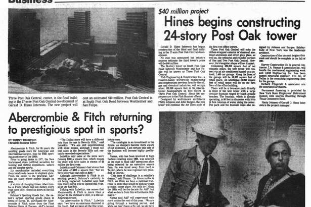 Houston Chronicle inside page - June 29, 1980 - section 3, page 24. Abercrombie & Fitch returning to prestigious spot in sports? Oshman's 'fun' for share holders, too. A&F lost sight of what it was.