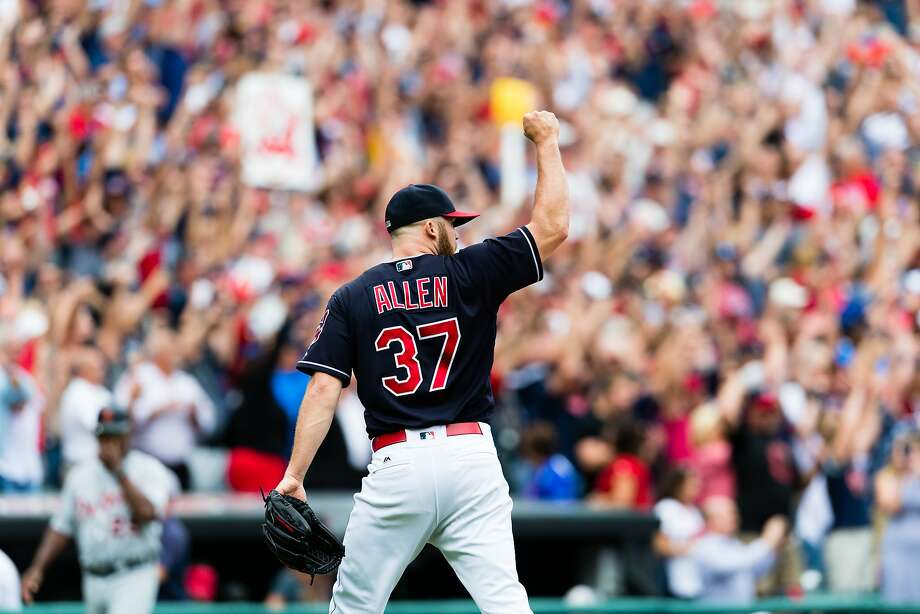 Indians closer Cody Allen celebrates after getting the last out to defeat Detroit at Progressive Field as Cleveland won 5-3 to break the A's American League record of 20 consecutive wins. Photo: Jason Miller, Getty Images