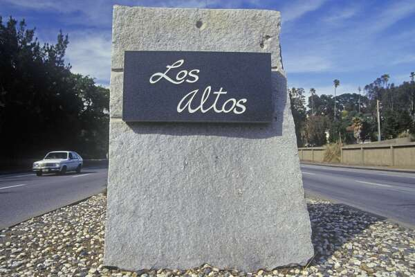 """Los Altos"" sign, Los Altos, Silicon Valley, California (Photo by Visions of America/UIG via Getty Images)"