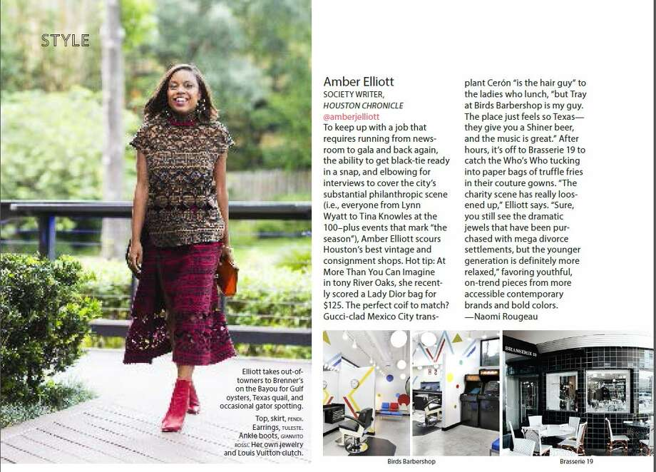 Amber Elliott is one of three Houston women included in Elle magazine's Style Across America feature.
