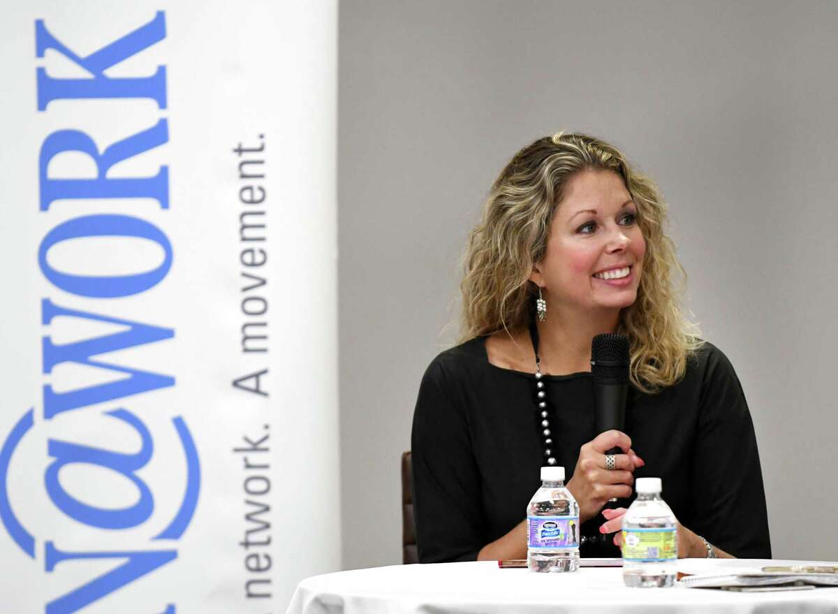 Financial consultant Gretchen Meyer speaks during a Women@Work Straight Talk breakfast on Wednesday, Sept. 13, 2017, at the Times Union in Colonie, N.Y. (Will Waldron/Times Union)