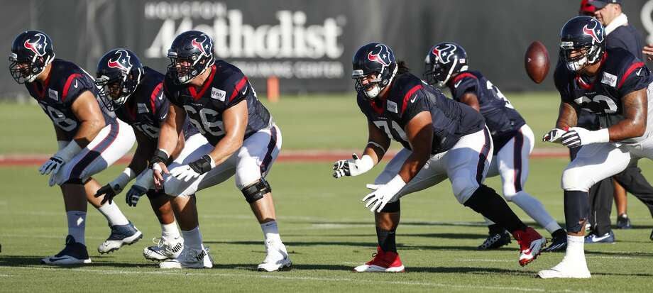 Houston Texans offensive linemen, from left, tackle Breno Giacomini (68), guard Jeff Allen (79), center Nick Martin (66), guard Xavier Su'a-Filo (71) and tackle Kendall Lamm (63) drop back into a pass protection drill during training camp at The Methodist Training Center on Tuesday, Aug. 22, 2017, in Houston. ( Brett Coomer / Houston Chronicle ) Photo: Brett Coomer/Houston Chronicle