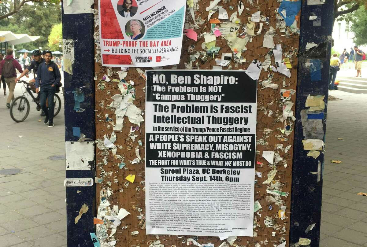 Anti-Ben Shapiro posters dot the UC Berkeley campus a day before the conservative commentator is scheduled to speak on campus on Wednesday September 13, 2017 at UC Berkley.