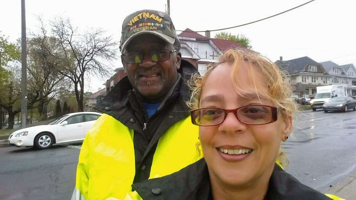 Idalyn Vargas, 50, right, and Leonard Hunter, 68, both of Bridgeport, were struck by a car Tuesday around 8 a.m. as they stood on the sideawlk at the intersection of Park and North avenues. The two crossing guards have worked together for nine years.