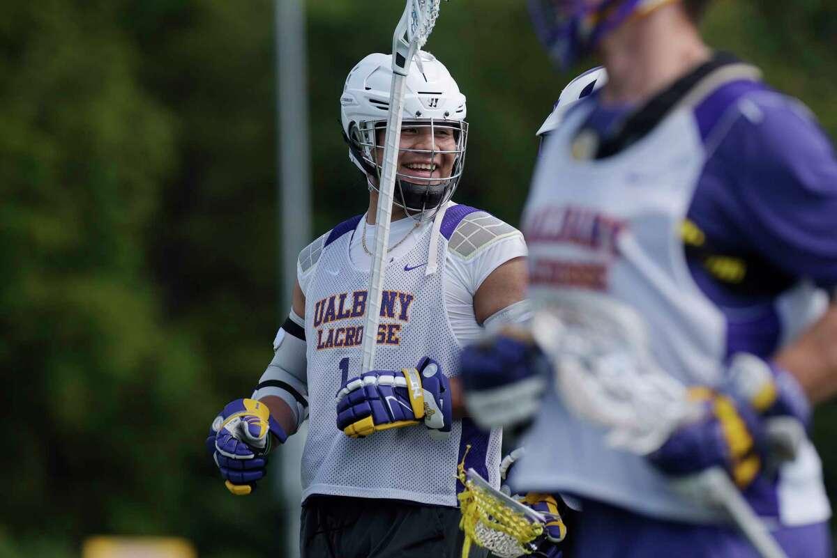 University at Albany men's lacrosse player, Tehoka Nanticoke, runs through drills during practice on Wednesday, Sept. 13, 2017, in Albany, N.Y. (Paul Buckowski / Times Union)