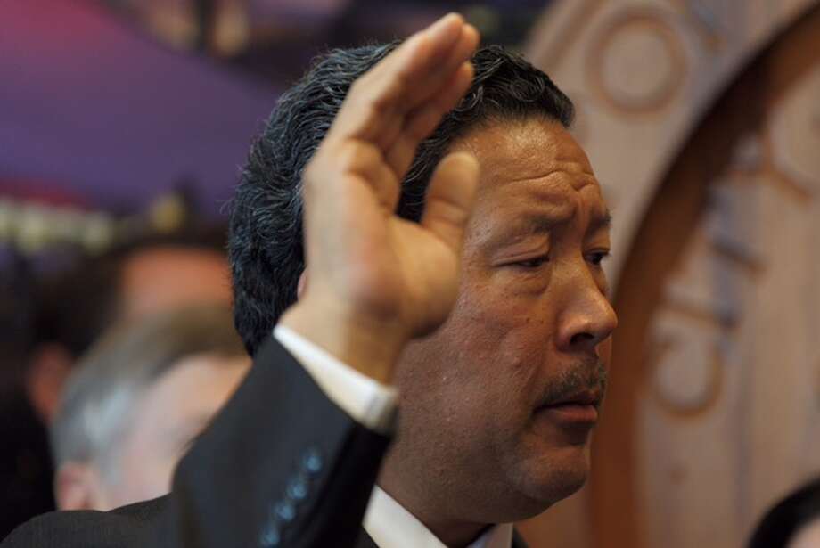 Bruce Harrell is sworn in as Seattle mayor in a City Hall ceremony, Wednesday, Sept. 13, 2017. Photo: GRANT HINDSLEY