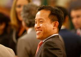 New San Francisco Assemblyman David Chiu smiled as he talked with others before the event Monday January 5, 2015. Jerry Brown took the oath of office as the Governor of California before members of the state legislature, family and friends at the State Capitol in Sacramento, Calif.