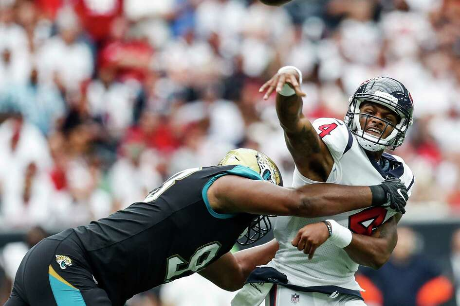 Thanks to the Texans' porous offensive line, Deshaun Watson was draped in Jaguars defenders upon making his regular-season debut.