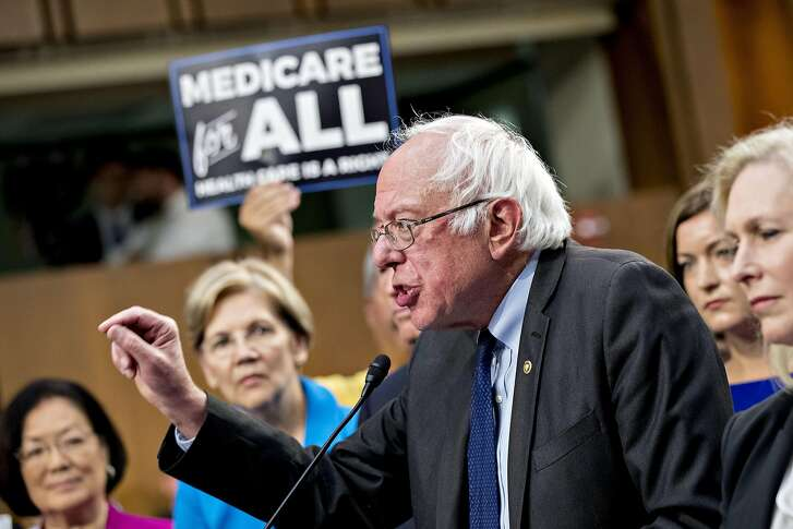 Senator Bernie Sanders, an independent from Vermont, speaks during a health care bill news conference on Capitol Hill in Washington, D.C., U.S., on Wednesday, Sept. 13, 2017. Fifteen Senate Democrats are flirting with a single-payer health-care system that would expand Medicare coverage to all Americans, marking a shift within the party on what was once viewed as a politically treacherous issue that attracted little support from lawmakers. Photographer: Andrew Harrer/Bloomberg