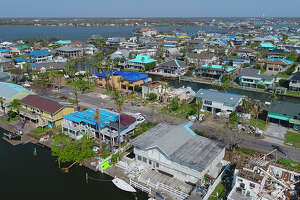 Homes in the Key Allegro section of Rockport-Fulton were heavily damaged as the area took a direct hit from Hurricane Harvey on August 25.