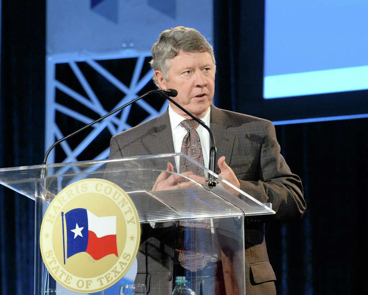 Harris County Judge Ed Emmett delivering the State of the County address at the Greater Houston Partnership Meeting at the NRG Center, Houston, TX on January 2, 2016.