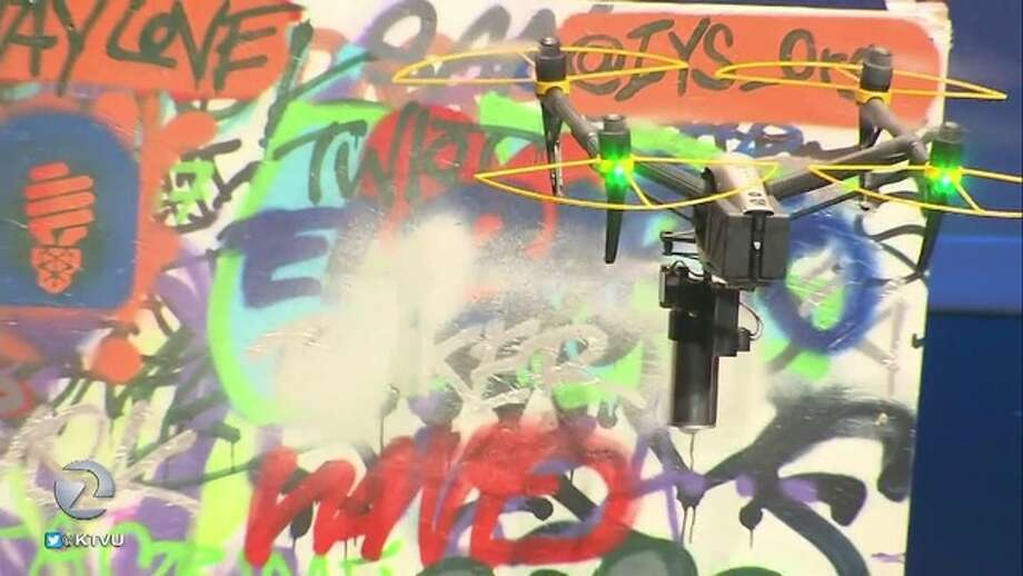 A couple has created the prototype for a drone that would remove graffiti. Photo: KTVU