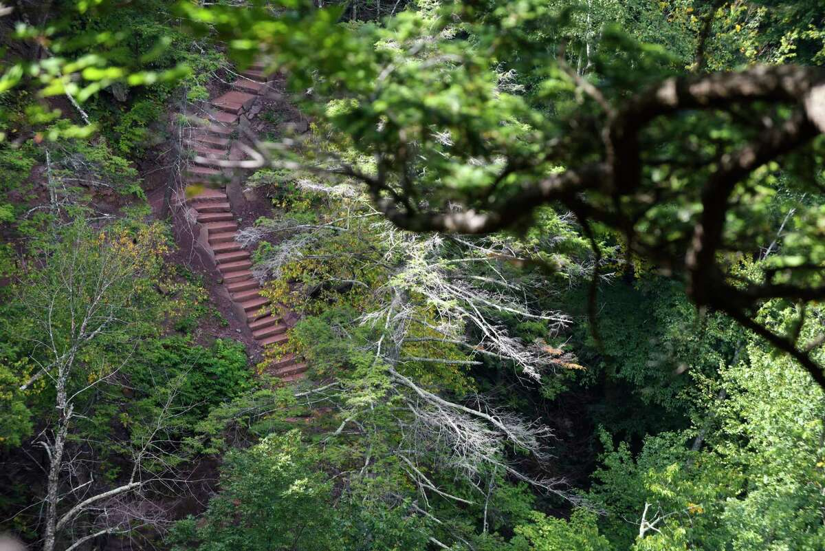 A view of the 200-step stone staircase that leads down to the base of Kaaterskill Falls on Wednesday, Sept. 13, 2017, in Hunter, N.Y. The staircase was created by a professional trail crew from the Adirondack Mountain Club. (Paul Buckowski / Times Union)