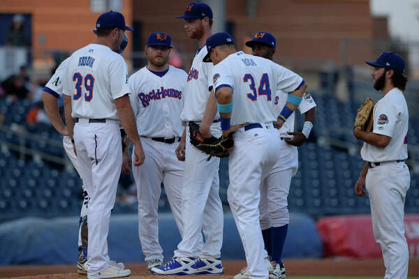 RockHounds' manager Fran Riordan pulls starting pitcher Casey Meisner in Game 2 of the Texas League Championship Series against Tulsa Sept. 13. 2017, at Security Bank Ballpark. James Durbin/Reporter-Telegram