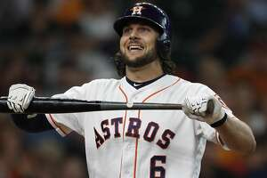 Houston Astros Jake Marisnick (6) reacts after striking out with the bases loaded during the fifth inning of an MLB baseball game at Minute Maid Park, Thursday, June, 29, 2017. ( Karen Warren / Houston Chronicle )