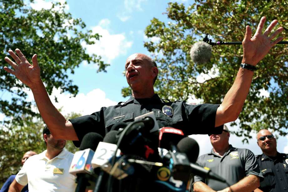 Hollywood Police chief Tomas Sanchez answers questions outside the Rehabilitation Center at Hollywood Hills, Wednesday, Sept. 13, 2017, in Hollywood, Fla. Several patients at the sweltering nursing home died in Hurricane Irma's aftermath, raising fears Wednesday about the safety of Florida's 4 million senior citizens amid widespread power outages that could go on for days. (John McCall/South Florida Sun-Sentinel via AP) ORG XMIT: FLLAU505 Photo: John McCall / South Florida Sun-Sentinel
