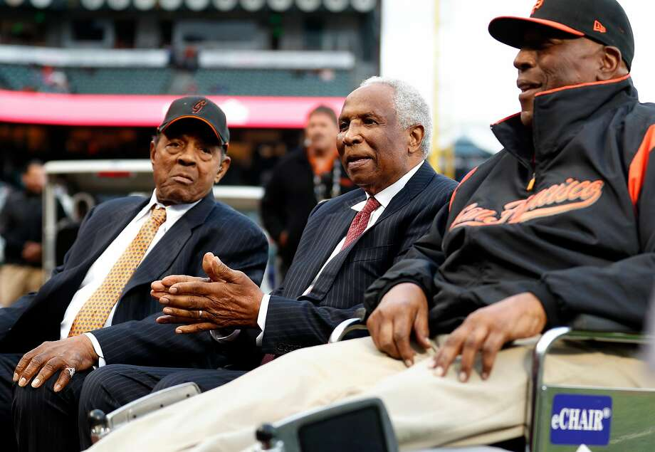 San Francisco Giants' legends Willie Mays, Frank Robinson and Willie McCovey before Giants play Los Angeles Dodgers in MLB game at AT&T Park in San Francisco, Calif., on Wednesday, September 13, 2017. Photo: Scott Strazzante / The Chronicle