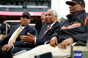 San Francisco Giants' legends Willie Mays, Frank Robinson and Willie McCovey before Giants play Los Angeles Dodgers in MLB game at AT&T Park in San Francisco, Calif., on Wednesday, September 13, 2017.