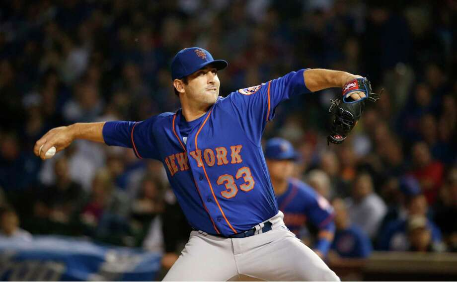 New York Mets starting pitcher Matt Harvey delivers during the first inning of the team's baseball game against the Chicago Cubs on Wednesday, Sept. 13, 2017, in Chicago. (AP Photo/Charles Rex Arbogast) ORG XMIT: CXC109 Photo: Charles Rex Arbogast / Copyright 2017 The Associated Press. All rights reserved.