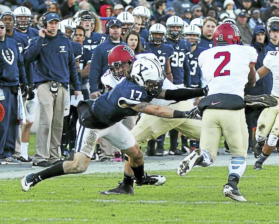 Yale defensive back Spencer Rymiszewski (17). Photo: Yale Sports Publicity / 2015 All Rights Reserved