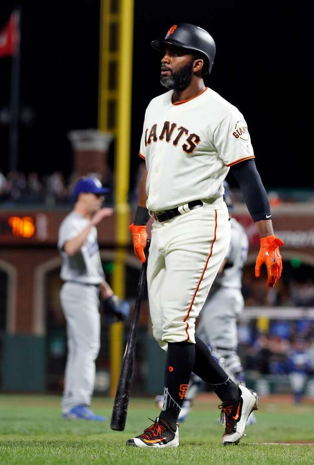 San Francisco Giants' Denard Span heads to them dugout after striking out to end 4-1 loss to Los Angeles Dodgers during MLB game at AT&T Park in San Francisco, Calif., on Wednesday, September 13, 2017. Photo: Scott Strazzante, The Chronicle